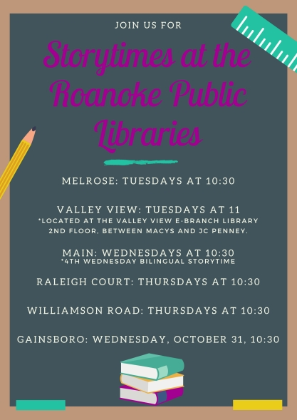 Storytime at the Roanoke Public Libraries